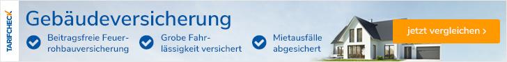 Gebäudeversicherung als blauer Schriftzug